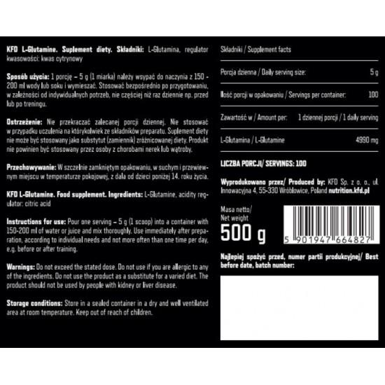 KFD Premium L-Glutamine 500g -KFD Nutrition