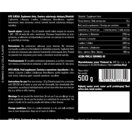 Premium X-BCAA 500g -KFD Nutrition